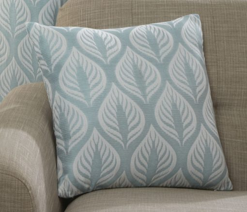 Leaf Design Cushion Cover in Duck Egg