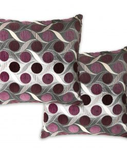 Metallic Chenille Cushion Cover in Aubergine