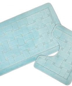 Crosshatch Effect 2pc Bathset in Aqua