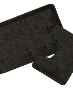 Crosshatch Effect 2pc Bathset in Black