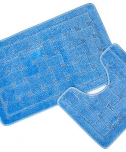 Crosshatch Effect 2pc Bathset in Blue