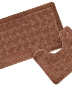 Crosshatch Effect 2pc Bathset in Chocolate