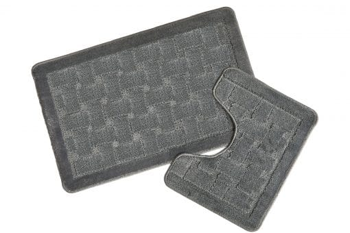 Crosshatch Effect 2pc Bathset in Silver