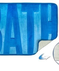 Embossed Memory Foam Bathmat in Blue