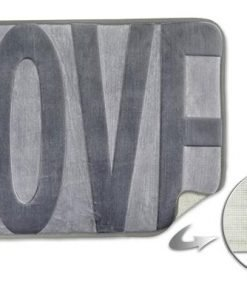 Embossed Memory Foam Bathmat in Silver