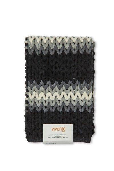 Luxurious Striped Bathmat in Black