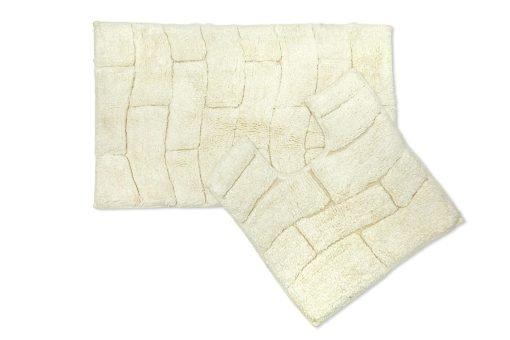 Pure Cotton Jacquard 2pc Bathset in Cream