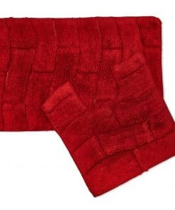 Pure Cotton Jacquard 2pc Bathset in Red