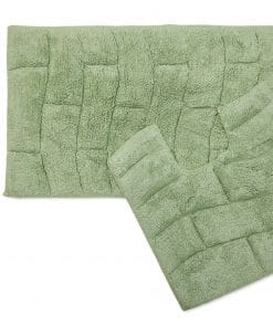 Pure Cotton Jacquard 2pc Bathset in Green
