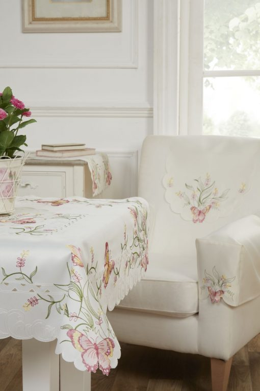 Jasmin Collection - Butterfly Embroidered Tablecloth in Pink