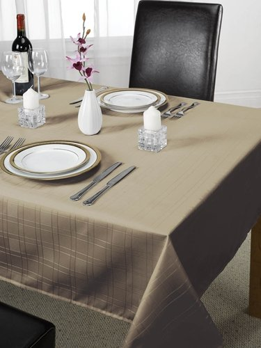 Check Jacquard Tablecloth Coffee