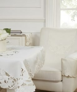 Cream embroidered tablecloth