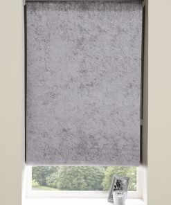Crushed Velvet Roller Blinds in Grey