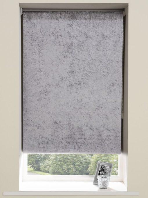Crushed Velvet Roller Blinds in Grey