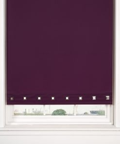 Square Eyelet Roller Blinds in Aubergine