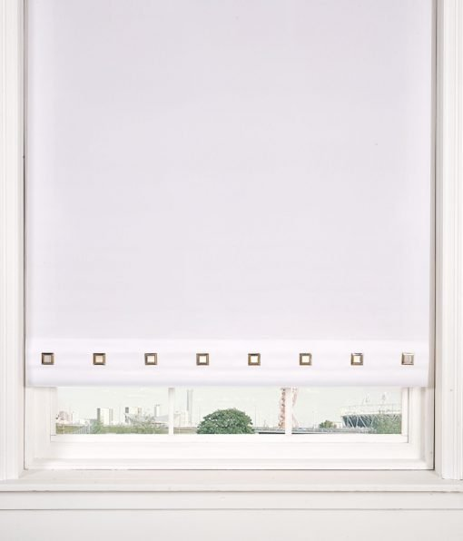 Square Eyelet Roller Blinds in White