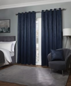 Metro Collection - Thermal Blackout Eyelet Curtains in Navy Blue