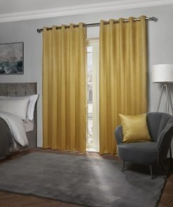 Metro Collection - Thermal Blackout Eyelet Curtains in Ochre