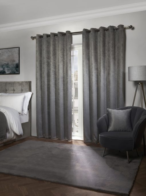Metro Collection - Thermal Blackout Eyelet Curtains in Silver