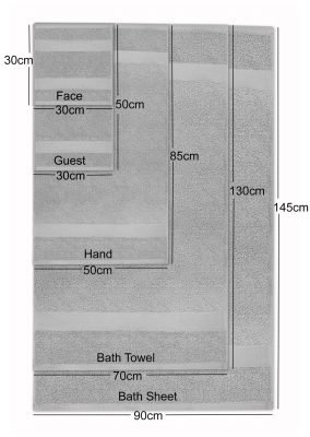 Ultima Collection - 640g Soft and Full Towel Range Dimensions