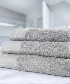 Twilight Collection - 500g Towel Range with Decorative Sparkle Border in Silver