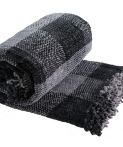 Highland Heavy Weight Chenille Throw in Charcoal Grey