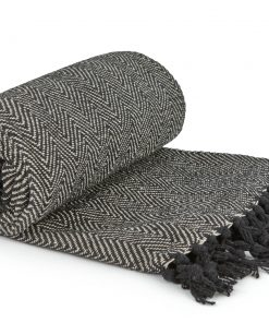Hartley Recycled Cotton Throw in Black