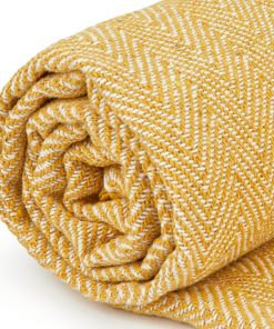 Hartley Recycled Cotton Throw in Ochre