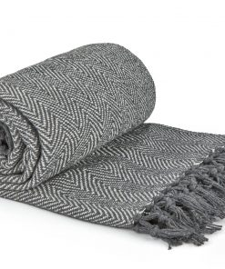 Hartley Recycled Cotton Throw in Silver