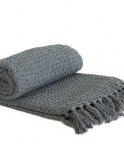 Waffle Recycled Cotton Throw in Charcoal