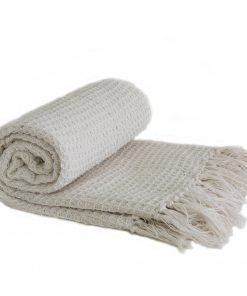 Waffle Recycled Cotton Throw in Ivory