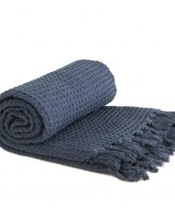 Waffle Recycled Cotton Throw in Navy