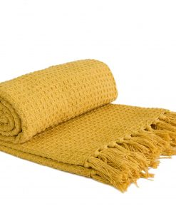Waffle Recycled Cotton Throw in Ochre yellow