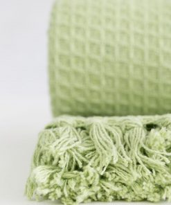 Waffle Recycled Cotton Throw in Pistachio Green