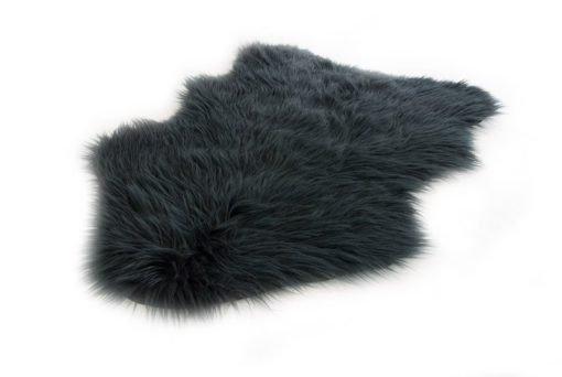 Faux Fur Room Rug in Black
