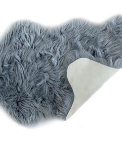 Faux Fur Room Rug in Silver Light Grey