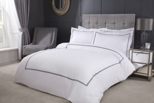 Carlton Embroidered Duvet Set with Oxford Pillowcases in Graphite Grey