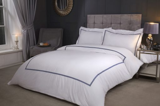 Carlton Embroidered Duvet Set with Oxford Pillowcases in Navy Blue