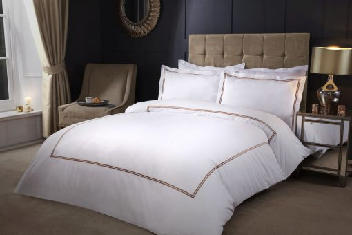 Carlton Embroidered Duvet Set with Oxford Pillowcases in Taupe Gold