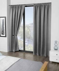 Essential woven pencil pleat blackout curtain grey