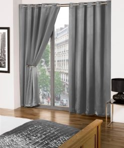 Essential woven eyelet blackout curtain grey