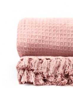 waffle throw in pink
