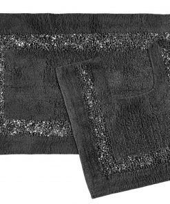 Sparkle bath mat set in dark grey