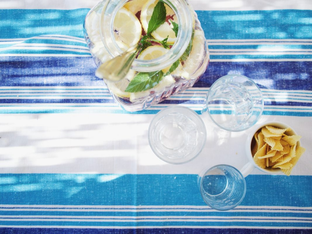 Cocktails on Tablecloth