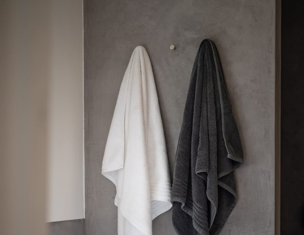 Black and White Towel Hanging Up